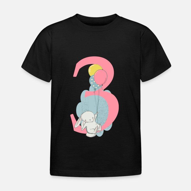 Birthday Number 3 Hare Kids T Shirt