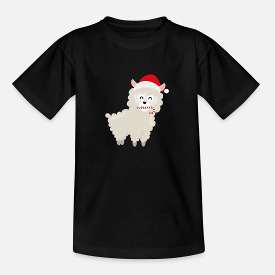 Skies T-Shirts - Alpaca Santa with Candy Cane - Kids' T-Shirt black