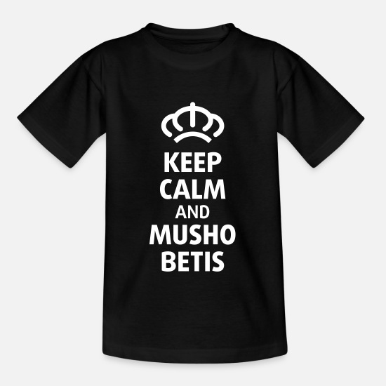 Real Camisetas - Camiseta Keep Calm and Musho Betis - Camiseta niño negro
