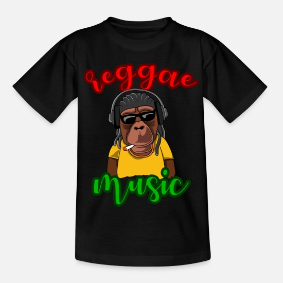Rasta T-Shirts - Reggae music monkey gift gift idea - Kids' T-Shirt black