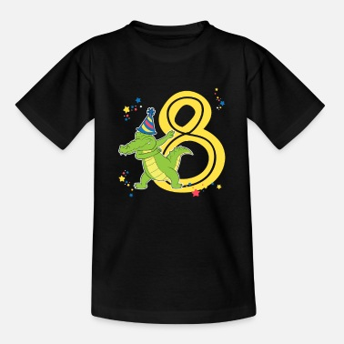 Dab Kid Reptile Birthday Dabbing Crocodile 8 Years Gift - Kids' T-Shirt