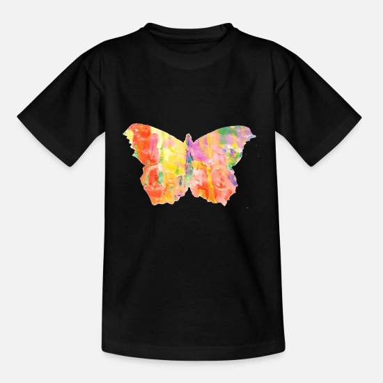 Watercolour T-Shirts - Butterflies in the stomach, because it's spring - Kids' T-Shirt black
