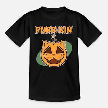 Kin Halloween Cat Pumpkin - Purr-kin - Kids' T-Shirt
