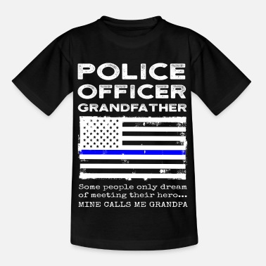 Meeting Proud Police Officer Grandfather Grandpa Flag - Kids' T-Shirt