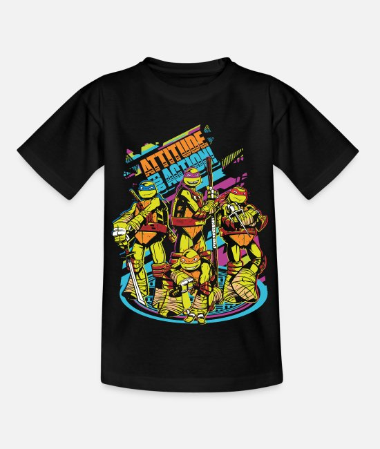 Martial Arts T-Shirts - TMNT Turtles Attitude For Action - Kids' T-Shirt black