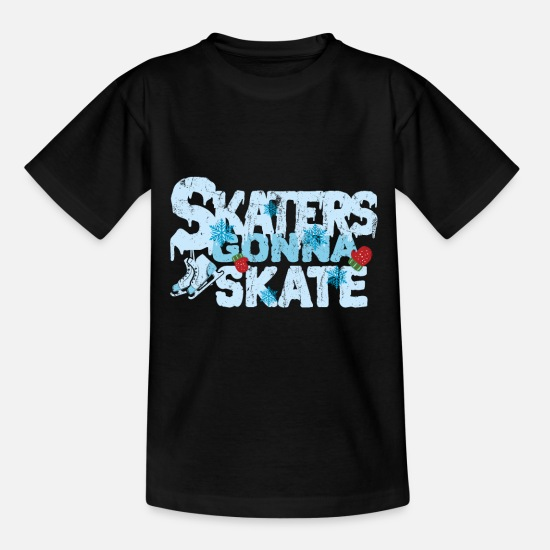 Winter Sports T-Shirts - Ice skating - Kids' T-Shirt black