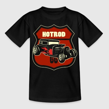 hotrod with 66 sign - Kids' T-Shirt