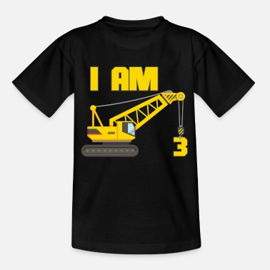 Crane 3rd birthday crane 3 year boy gift - Kids' T-Shirt