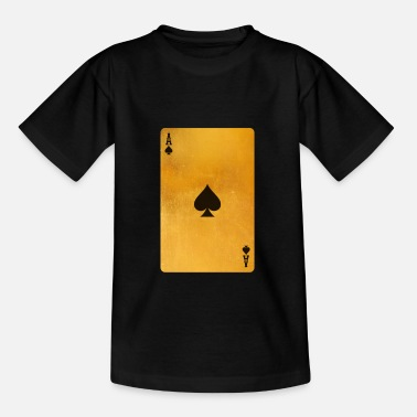 Playing Cool Gold Ace Playing Cards Single Ace Of Spades - Kids' T-Shirt