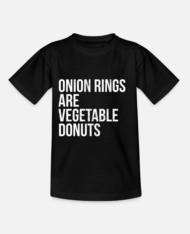 Donut T-Shirts - Onion Rings Are Vegetable Donuts Vegan - Kids' T-Shirt black