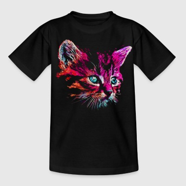 cat pink paint - Kinderen T-shirt