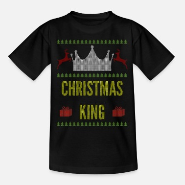 Ugly Christmas king queen ugly sweater couple - Kids' T-Shirt