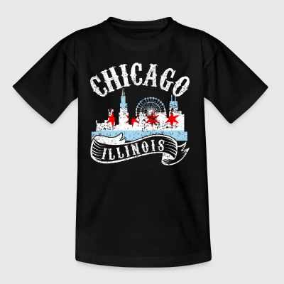 Chicago Illinois Vintagestads Bedrövad - T-shirt barn