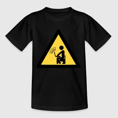Warnschild Chatten am Klo - Kinder T-Shirt