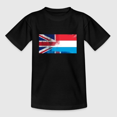 British Luxembourger Luxembourg Half Half UK Flag - T-skjorte for barn
