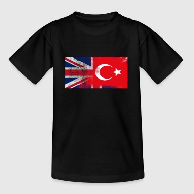 British Turkish Half Turkey Half UK Flag - Kids' T-Shirt