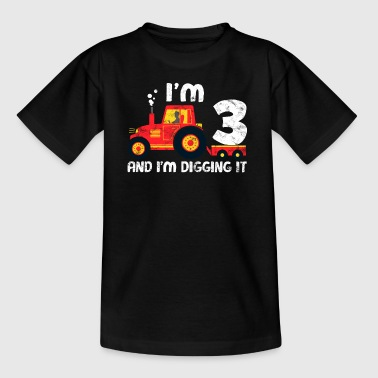 Tractor Birthday Shirt: I Love Being 3 - Kids' T-Shirt