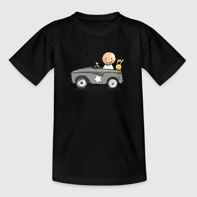 Baby in Retro-Auto - Kinder T-Shirt