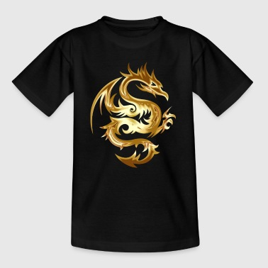 Golden Dragon Chinese Dragon idé - Børne-T-shirt