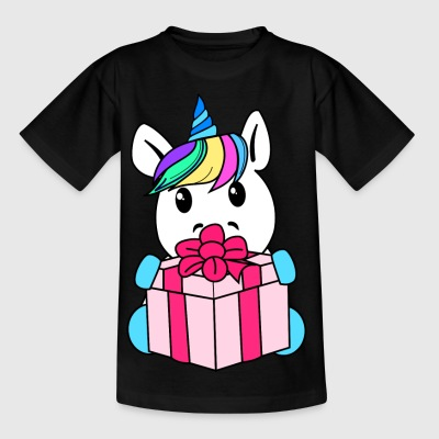Unicorn with gift - Kids' T-Shirt
