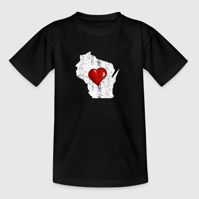 Wisconsin Heart Distressed - Børne-T-shirt