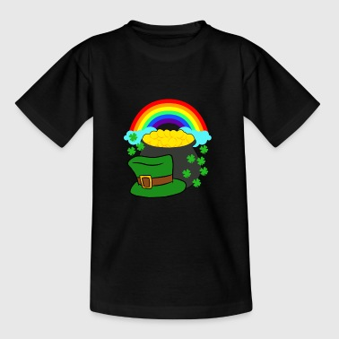 Pot Of Gold Hat And Rainbow Clover St Patricks Day - Kids' T-Shirt