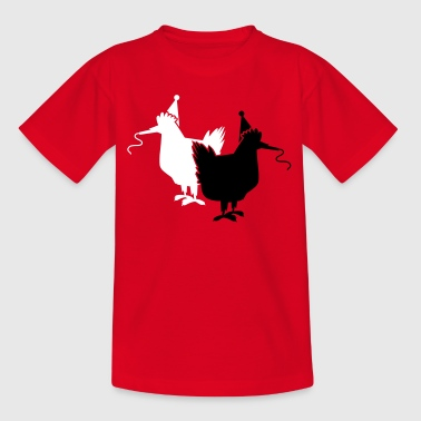 two party hens chooks chickens hen  with whistles - Kids' T-Shirt