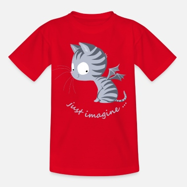 Youth Cat with dragon wings, infinite children's fantasy - Kids' T-Shirt
