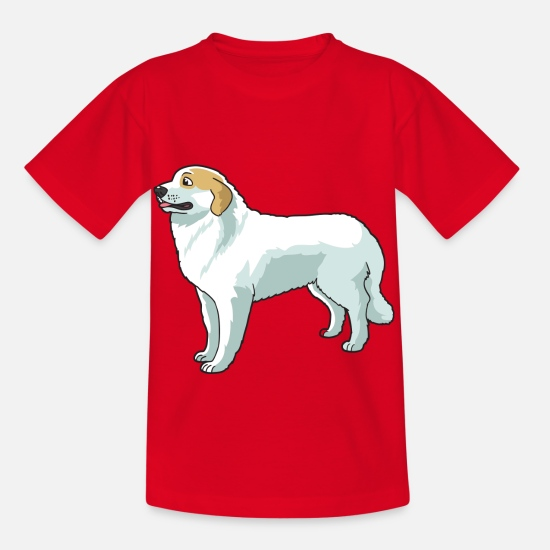 Haired T-Shirts - Great Pyrenees Dog - Kids' T-Shirt red