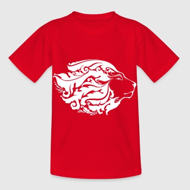 lion with long ornament hair - Kids' T-Shirt