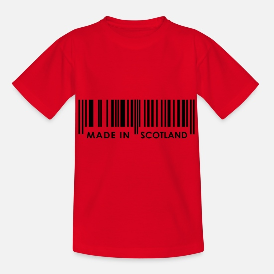 Country T-Shirts - Made in Scotland bar code - Kids' T-Shirt red