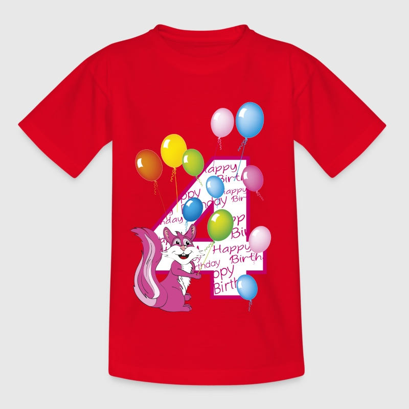 Fourth birthday 4 year old girl squirrel by creatinery for T shirts for 15 year olds