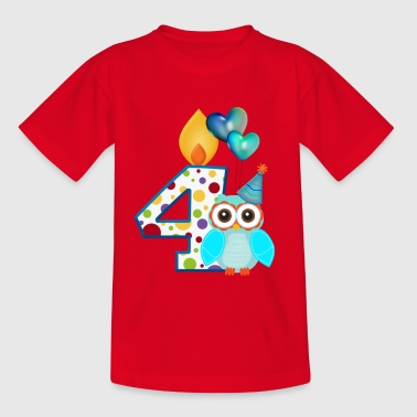 Birthday figure 4 owl with air balloon - Kids' T-Shirt