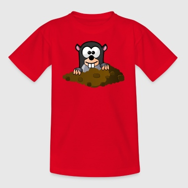 Mole looks out of the hole - Kids' T-Shirt