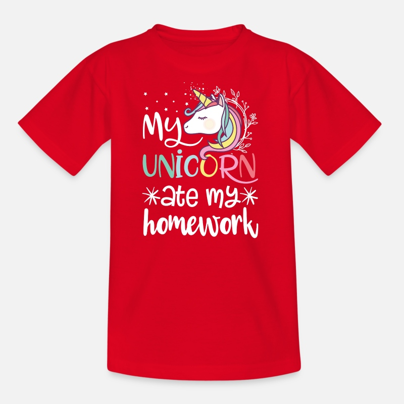 Elementary School T-Shirts - My unicorn ate my homework - Kids' T-Shirt red