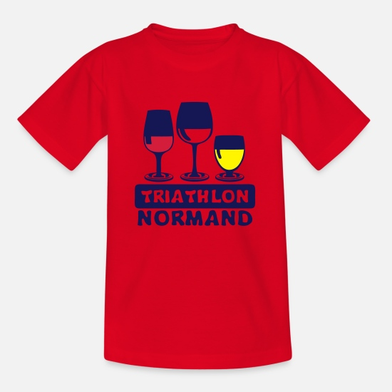 Normandie T-shirts - triathlon normand aclool verre apero hum - T-shirt Enfant rouge