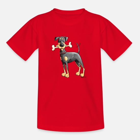 Dog Friend T-Shirts - Doberman or Pinscher with bone - Kids' T-Shirt red