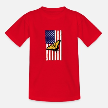 Monarch Butterfly America Flag Independence Day - Kids' T-Shirt