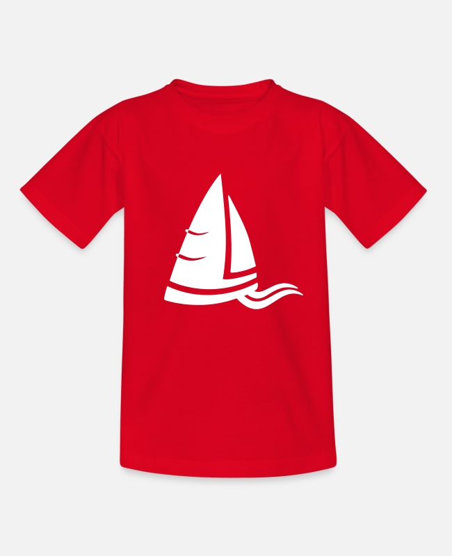 Water T-Shirts - SeeLuft sailboat white - Kids' T-Shirt red