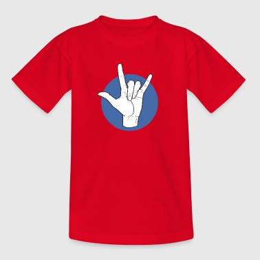 Fingeralphabet ILY white / blue - Kinder T-Shirt
