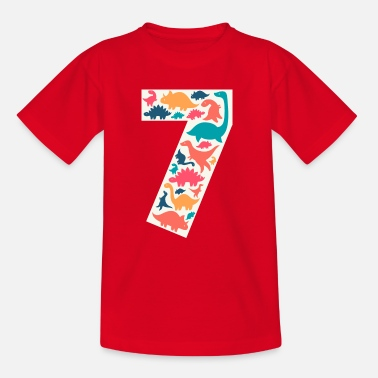 Neun 7 - Seven Years Birthday  Dino Dinosaur T Rex - Kinder T-Shirt