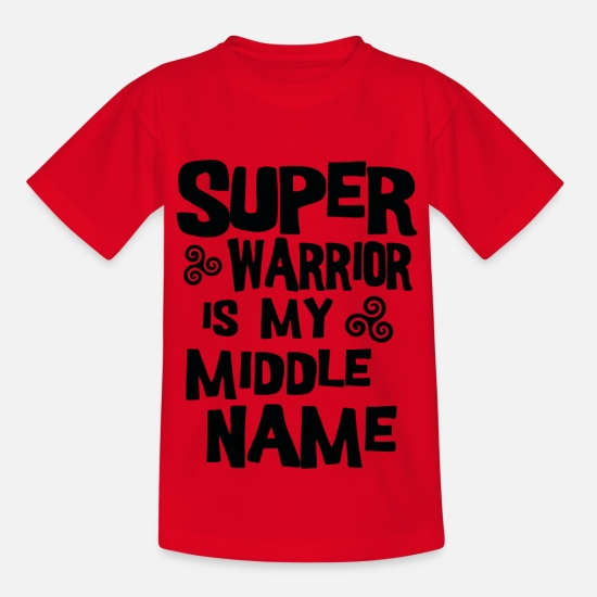 Birthday T-Shirts - super warrior is my middle name - Kids' T-Shirt red