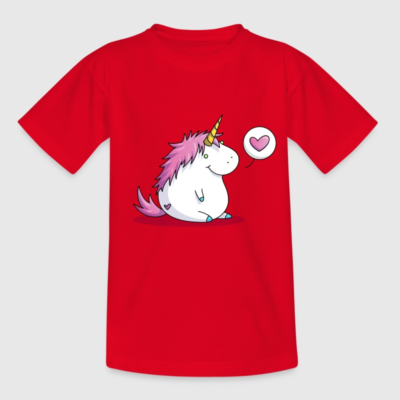Fat unicorn with heart - Kinderen T-shirt