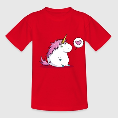 Fat unicorn with heart - Børne-T-shirt