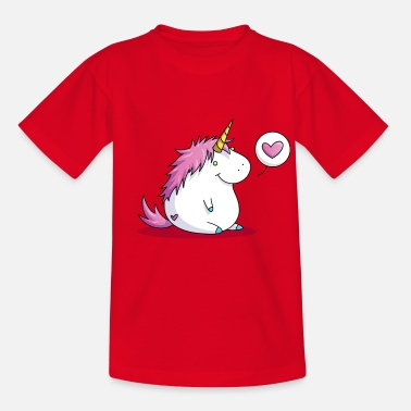Fat unicorn with heart - Lasten t-paita