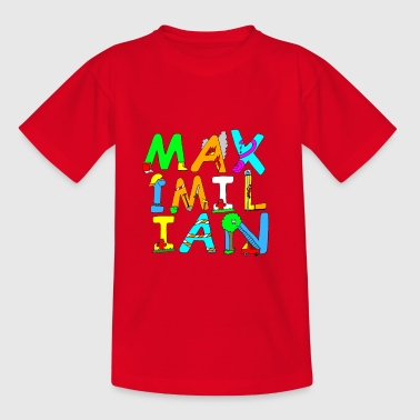 Maximilian's name in cool fire brigade letters - Kids' T-Shirt