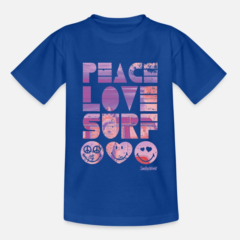 Smileys T-paidat - SmileyWorld 'Peace Love Surf' teenager t-shirt - Teinien t-paita kuninkaallinen