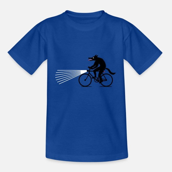 Bicycle T-Shirts - Wolf with bike - Teenage T-Shirt royal blue