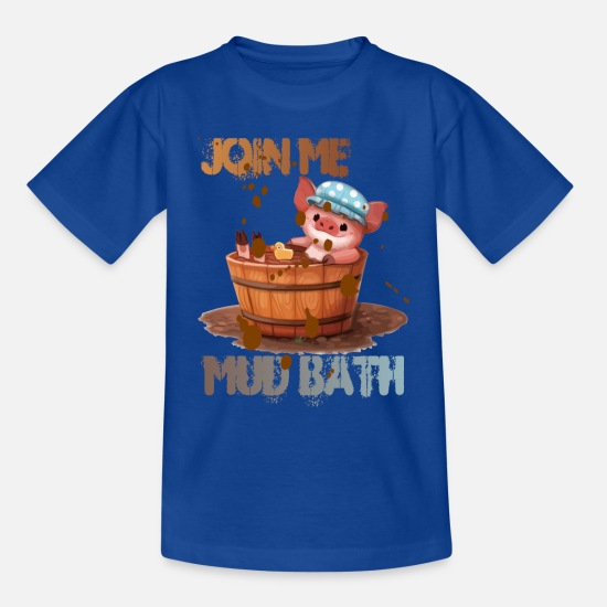 Puddle T-Shirts - MUD BATH PIGLET - Teenage T-Shirt royal blue
