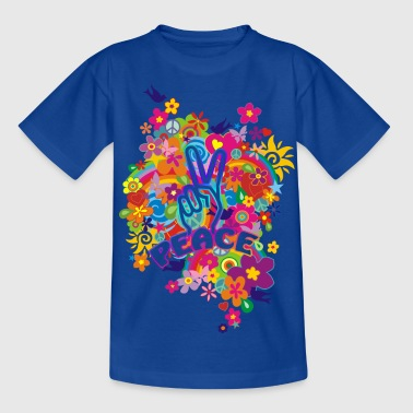 NEW FLOWER POWER RAINBOW - PEACE - Teenager T-Shirt
